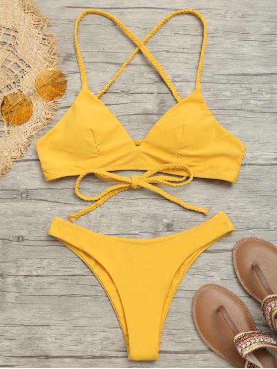 ee289a5f46180 Plaited Cami Cross Back Bikini Set. #Zaful #swimwear Zaful, zaful bikinis,  zaful dress, zaful swimwear, style, outfits,sweater, hoodies, women  fashion, ...