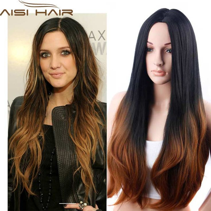 Wigs 1  Long Wavy Ombre Wig Synthetic Brown Ombre Wigs of Natural Hair Long Wavy Synthetic Wigs for Black Women Heat Resistant -- AliExpress Affiliate's Pin. Offer can be found by clicking the image