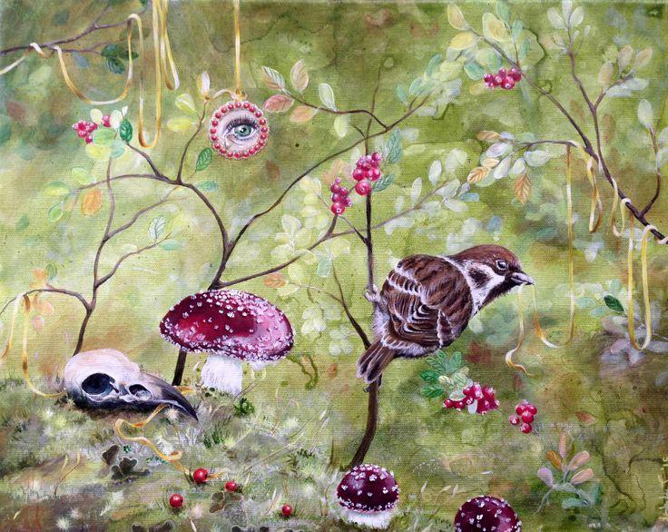 """""""Garden of earthly delights"""".  By Lisbeth Thygesen.  http://lisbeththygesen.mono.net/malerier_2015 Contact: lisbeth_t@live.dk  (Akryl på lærred, 50x40 cm. PRIS: 3.500,- kr.)"""