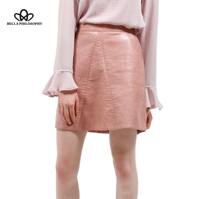 2017 весной новое качество марка дизайн PU искусственной кожи женщин юбка розовый желтый черный назад молния
