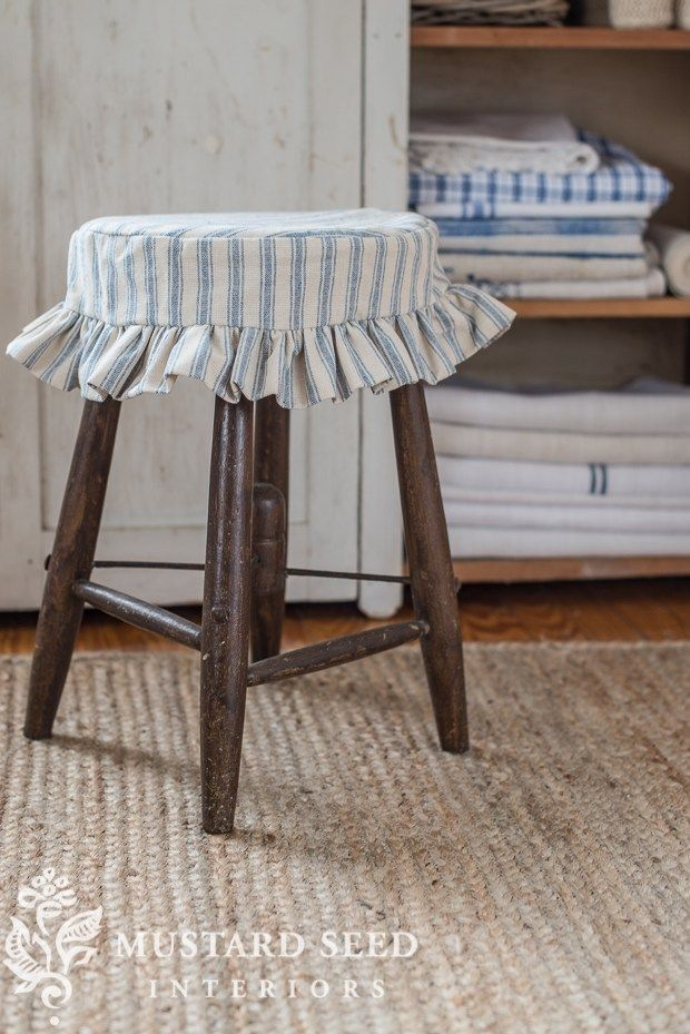 it may look like a ticking stool slipcover... - Miss Mustard Seed