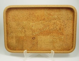 Rectangle Cork Serving Tray in Natural Block pattern.