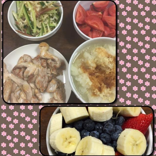 とりの焼肉(大根おろしソース) 切干し大根の酢の物 トマト デザートはフルーツ盛り合わせ - 58件のもぐもぐ - 今日の夕飯 by aquchan