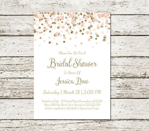 blush pink and gold bridal shower invitation printable confetti glitter elegant classy wedding digital file chic