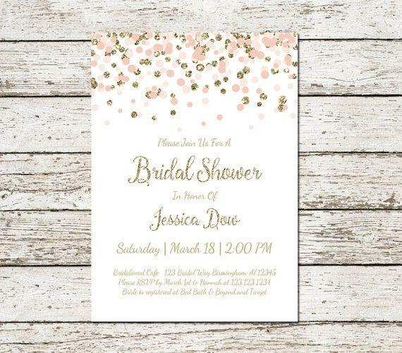 Blush Pink and Gold Bridal Shower Invitation Printable Confetti Glitter Elegant Classy Wedding Digital File Chic Simple