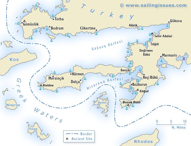 Turkey - the Carian coast sailing map - Bodrum and Marmaris.