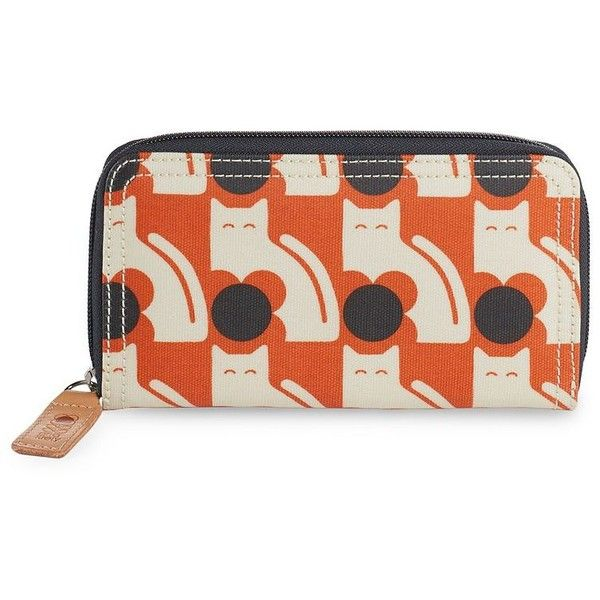 ORLA KIELY Poppy Cat Zippered Wallet ($50) ❤ liked on Polyvore featuring bags, wallets, leather bags, orla kiely wallet, leather zip around wallet, zipper wallet and leather wallets