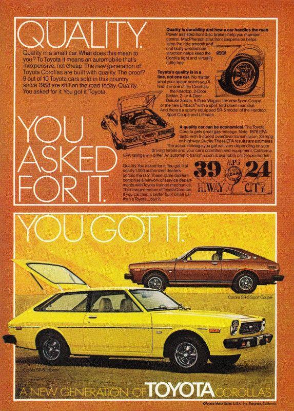 1976 Toyota Corolla Car Ad