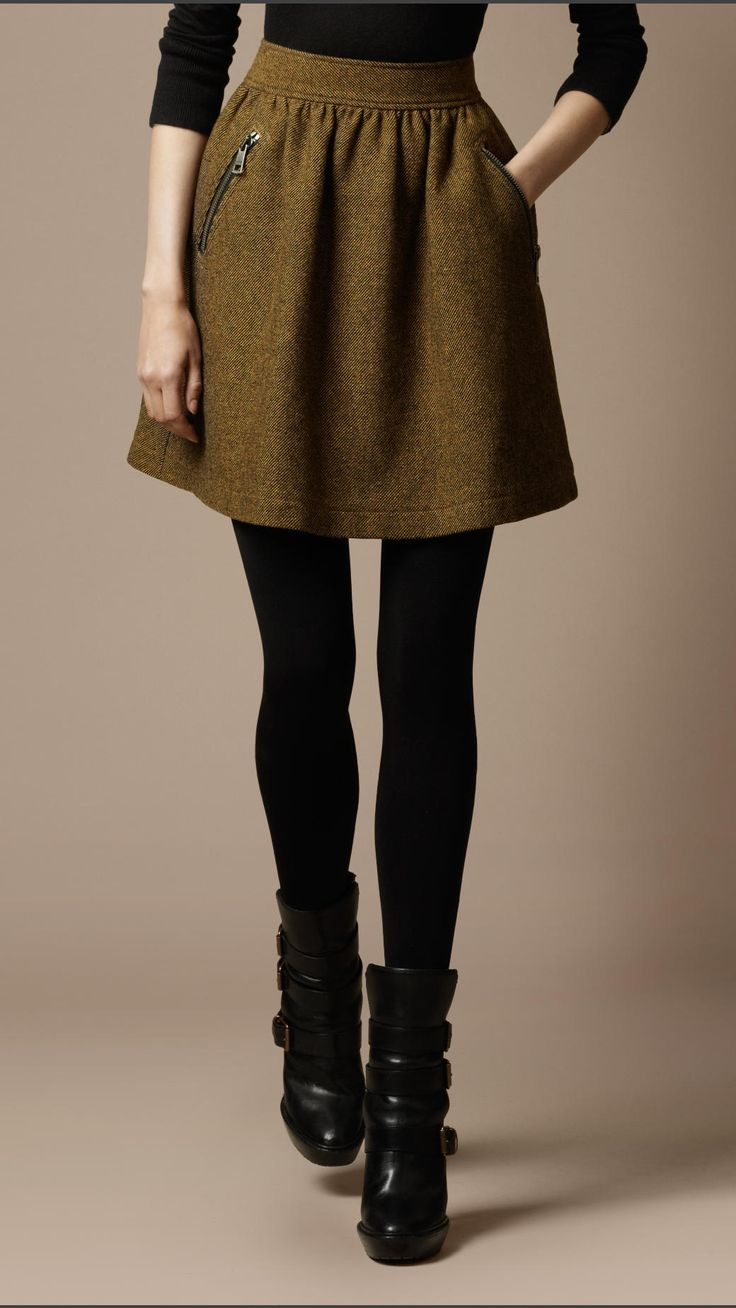 Tweed zip detail skirt. Like the color with the black tights, shoes and top. Good length too.