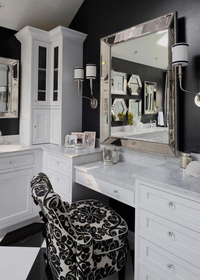 salle de bain design avec coiffeuse et fauteuil