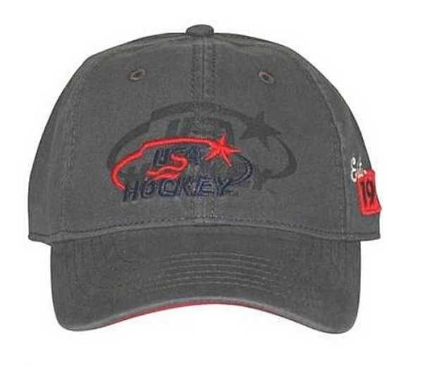 USA Hockey Drop Shadow Baseball Cap Red & White USA Hockey Logo Hat - Gray 7041