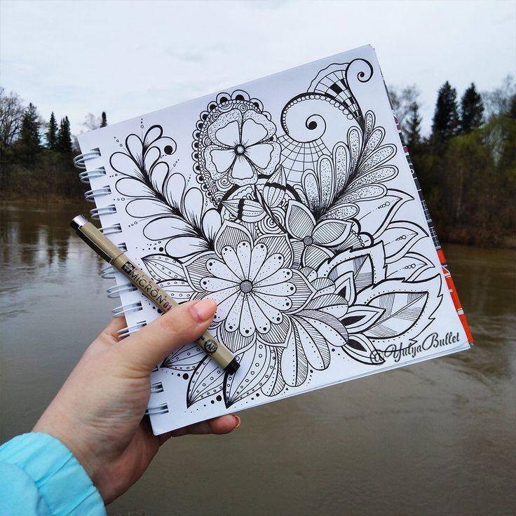 Дудлинг для начинающих | Цветы | Арт | Узоры | Как рисовать дудлинг | Цветной | цветочный | Рисунки | Рисунок | Камни | Поэтапно | Зентангл | Скетчбук | Картинки | Идеи | Doodles | Doodling