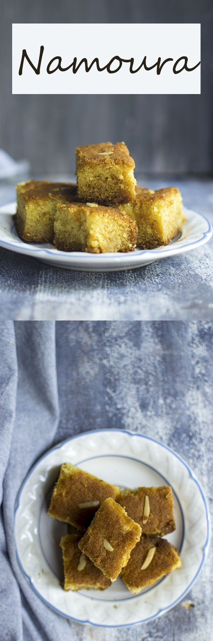 Namoura is a easy to make Lebanese dessert. Rich and dense with semolina cake doused in rose water flavored sugar syrup. It is a great make ahead dessert.
