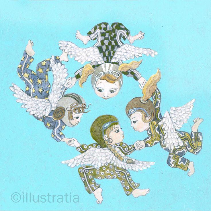 Acrylschildering op paneel 30x30 cm. Uit de 8-delige serie: 'angelical antics.' titel: 'I fall from the stars'