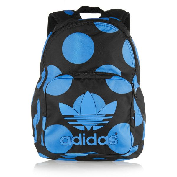 adidas Originals + Pharell Williams Dear Baes polka-dot canvas... ($70) ❤ liked on Polyvore featuring bags, backpacks, blue, knapsack, blue polka dot backpack, lightweight daypack, canvas tote bag and oversized backpack