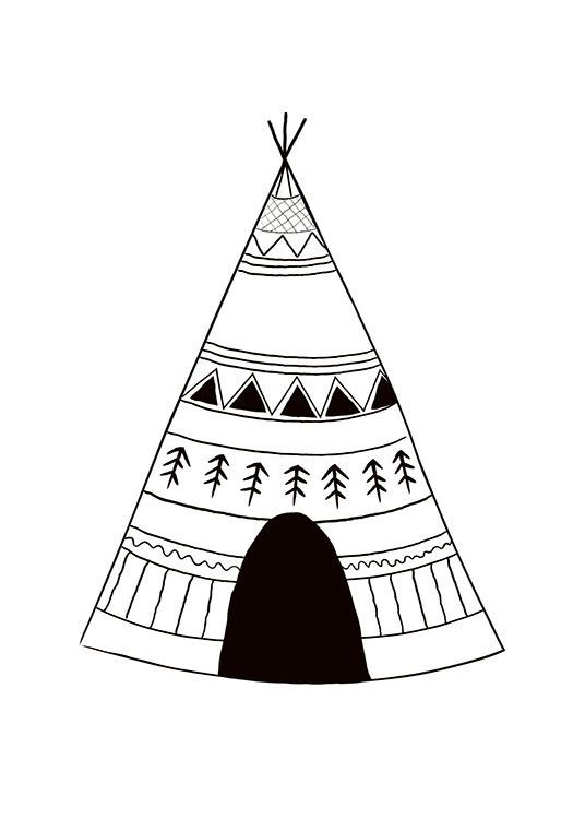 Print With A Tepee For A Kids Room Kids Poster
