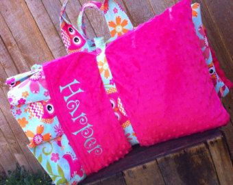 Personalized  Nap Mat cover with attached Minky Blanket & Ruffle Pillow Case for the Kindermat Daydreamer