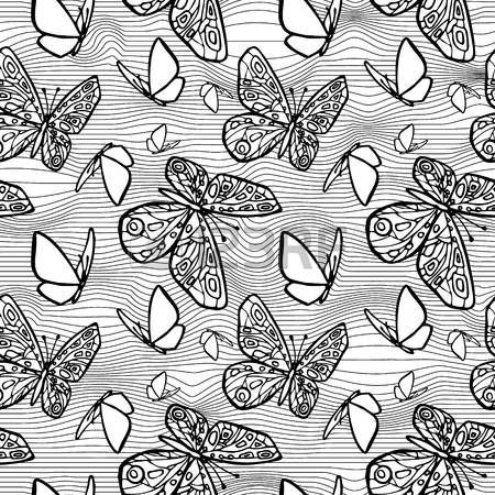 Vector seamless texture with butterflies, distorting net space. Eps-8