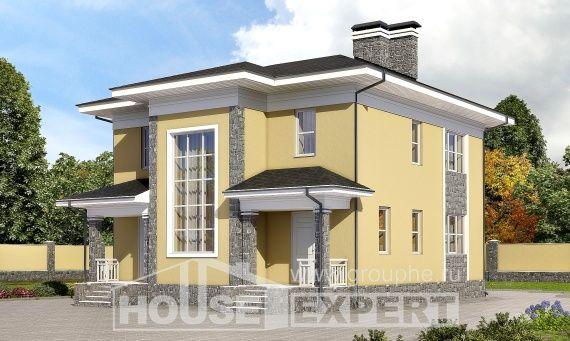 155-011-L Projekt domu dwukondygnacyjnego, budżetowy domek z brizolitu, Słupsk