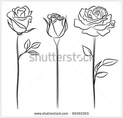 Trois roses à la main style dessiné # tatouages   – Flower Tattoo Designs