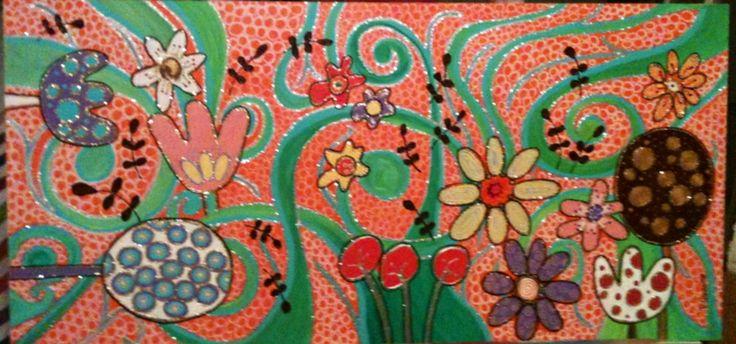 Mundo de flores . acrílico sobre madera  de 72 x 35 . Vendido
