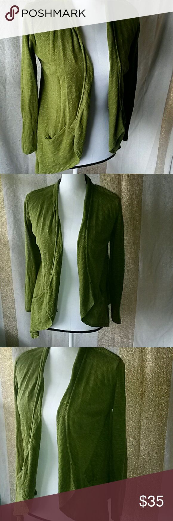 Eileen Fisher small open front cardigan. Split pea soup green. Size small Good Condition.  Length- 25 inches Chest- 21 inches Eileen Fisher Sweaters Cardigans
