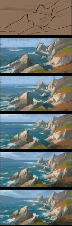 ArtStation - Three landscape Paintings and process share, Dawnpu at Art vision studio