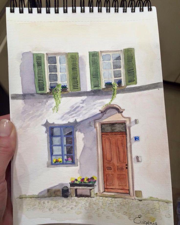 Watercolours illustration. Windows