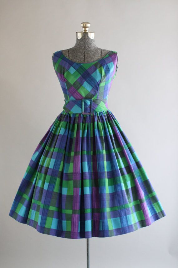 Vintage 1950s Dress / 50s Cotton Dress / Magnin Blue and Green Checkered Dress w/ Oversized Belt S