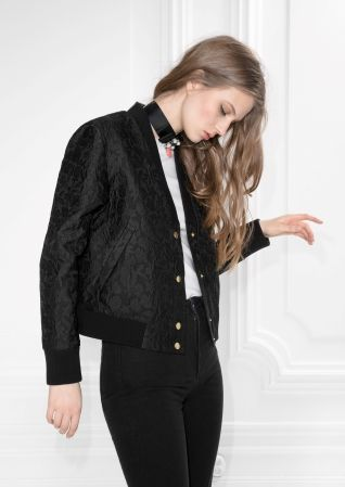 & Other Stories image 2 of Jacquard Bomber Jacket  in Black