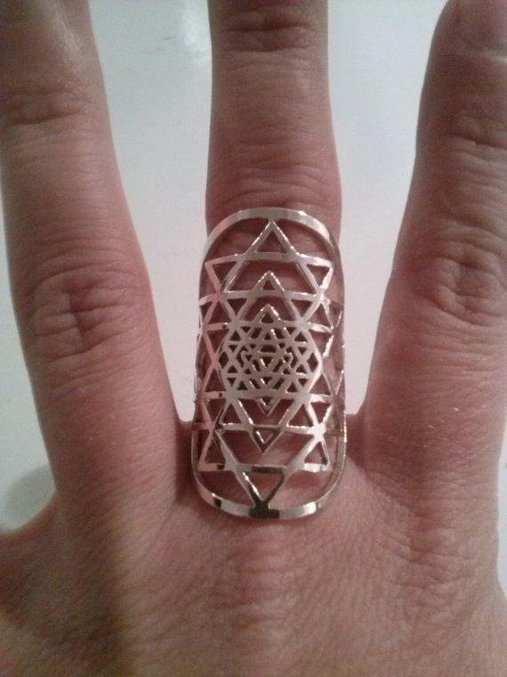 Sri Yantra ring in sterling silver ( sacred geometry)