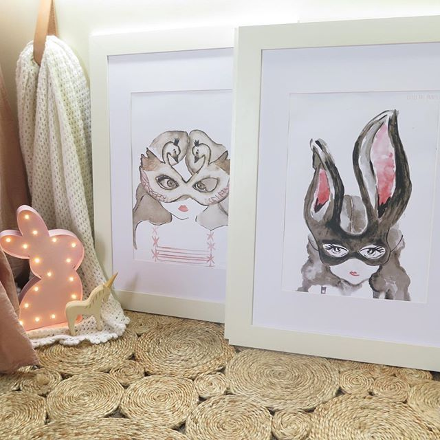 The two alter egos every little lady needs are both online now and look magical side by side ✨ #watercolour #littleraeprints #artprint #nursery #kidsroom #illustration #baby #girl