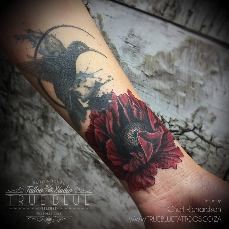 """Red Flight"" by Charl Richardson of True Blue Professional Tattoo Studio"