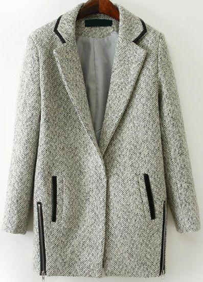Abrigo de lana solapa cremallera-gris