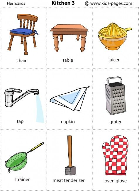 Kitchen 3 flashcards kindergarten ells pinterest for Kitchen utensils in spanish