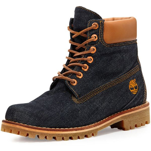 Timberland x Cone Denim Heritage 6 Premium Hiking Boot (710 BRL) ❤ liked on Polyvore featuring men's fashion, men's shoes, men's boots, denim, mens blue shoes, timberland mens shoes, mens round toe cowboy boots, timberland mens boots and mens lace up boots