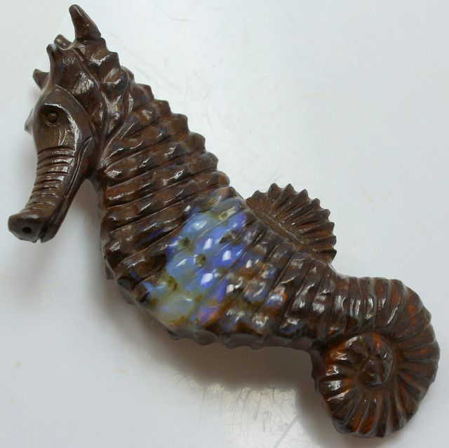180.23 CTS LARGE BOULDER OPAL CARVING SEA HORSE DOUBLE SIDED C607