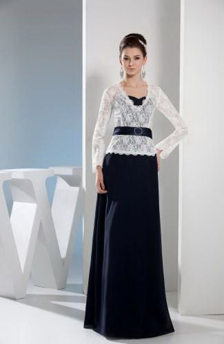 Sweetheart Chiffon Mother Of Bride Dress - Order Link: http://www.thebridalgowns.com/sweetheart-chiffon-mother-of-bride-dress-tbg3757 - SILHOUETTE: Sheath/Column; SLEEVE: Long Sleeves; LENGTH: Floor Length; FABRIC: Chiffon; EMBELLISHMENTS: Sash , Lace , Ribbon - Price: 142.99USD
