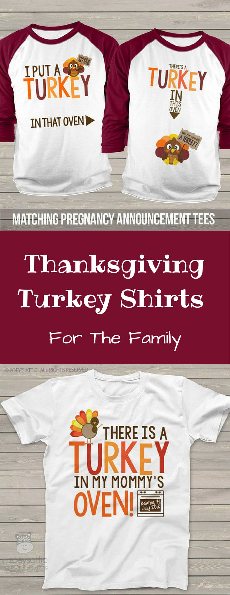 Turkey Thanksgiving Shirts For The Family. This Is A Cute Way To Do A Baby Announcement! #turkeyshirt #thanksgivingshirt #babyannouncement #etsyshirt #commisionlink