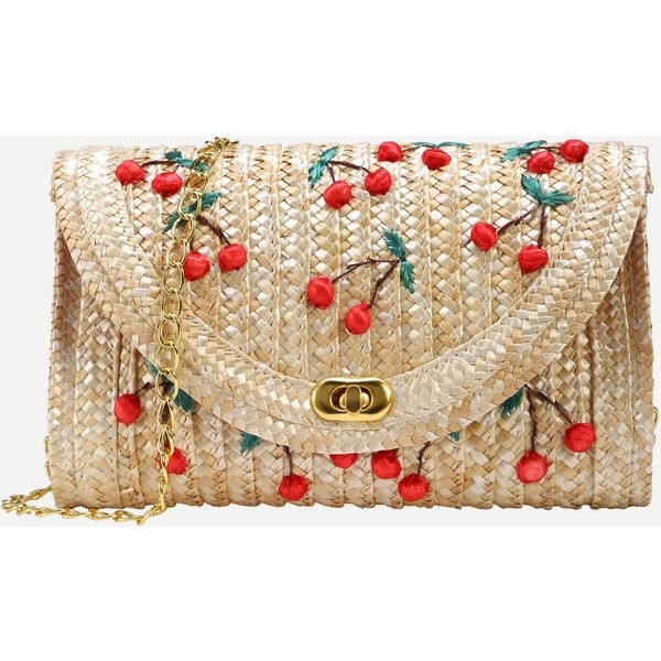 SheIn(sheinside) Beige Cherry Applique Straw Chain Bag (£12) ❤ liked on Polyvore featuring bags, handbags, bolsos, beige, clutches, purses, cherry handbags, brown hand bags, hand bags and cherry purse