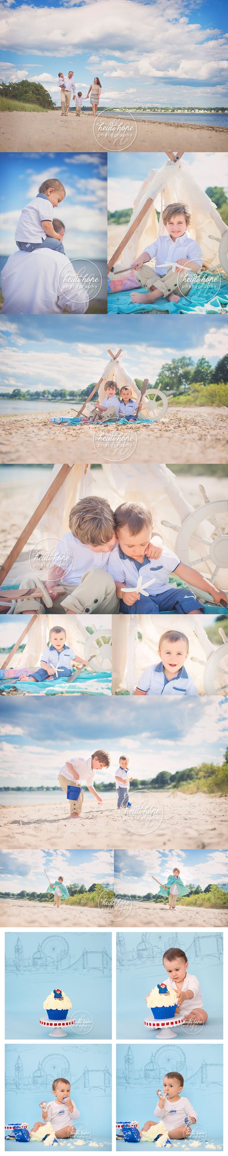 Holy Cow!  Those pirate beach photos!!  What I wouldn't give to do a session like that for my boys! outdoor family beach session with paddington bear cakesmash for little boys Heidi Hope Photography