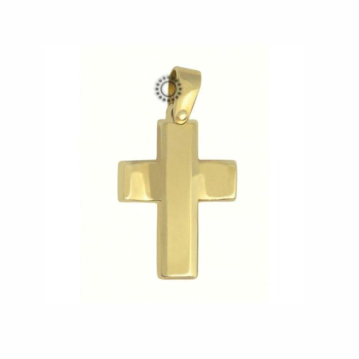 Σταυρός βάπτισης για αγόρι από χρυσό Κ14 με καμπυλωτό το οριζόντιο τμήμα του   Βαπτιστικοί σταυροί ΤΣΑΛΔΑΡΗΣ στο Χαλάνδρι #βαπτιστικός #σταυρός #βάπτισης #αγόρι #κόσμημα