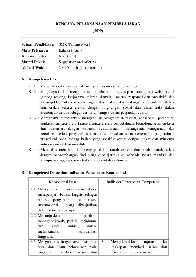 Rencana Pelaksanaan Pembelajaran Rpp Satuan Pendidikan