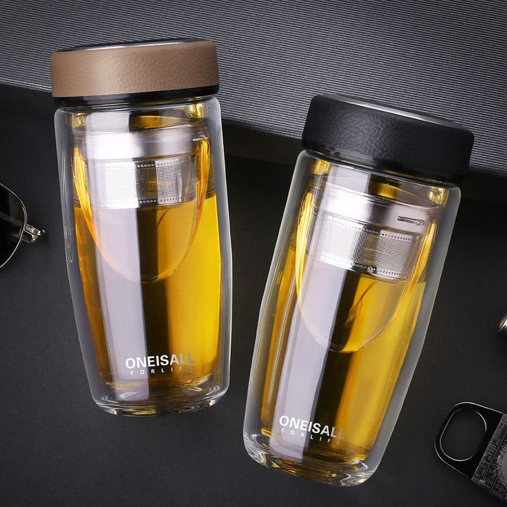 Double Wall Glass Water Bottle Coffee Mug Stainless Steel Tea Infuser Bottle13oz #Oneisall