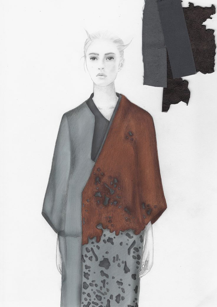 Amanda Svart Illustration. Leather and cotton coat. Pencil, pro marker and colour pencils drawing. Westminster Fashion