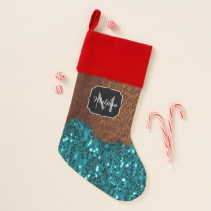 Aqua blue sparkles rustic brown wood Monogram Christmas Stocking - trendy gifts cool gift ideas customize