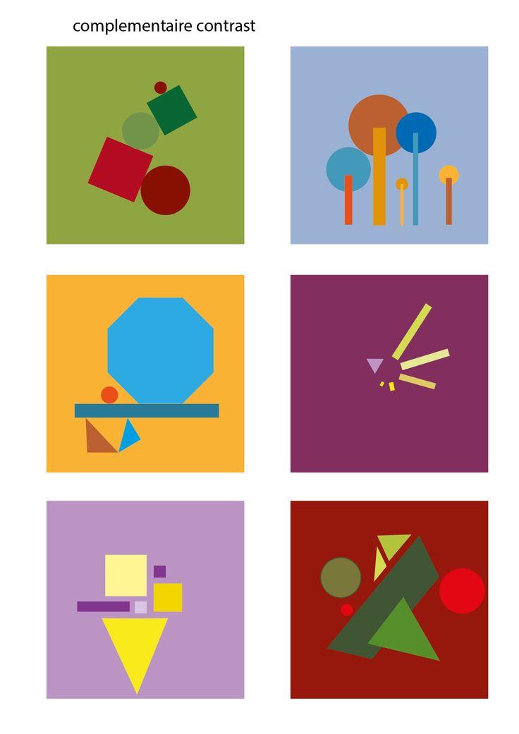 Complementair contrast: kleuren die tegenover elkaar in de kleurencirkel staan.
