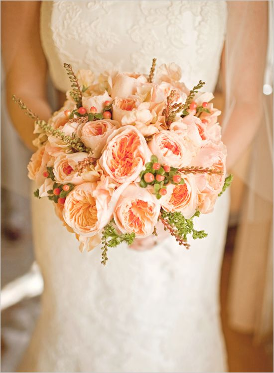 pretty in peach. Vintage Peach Garden Roses Probably Davids Austin Roses with delicate Veronica stems and peach colored berries for accent this would be beautiful with a lush Dusty Miller collar