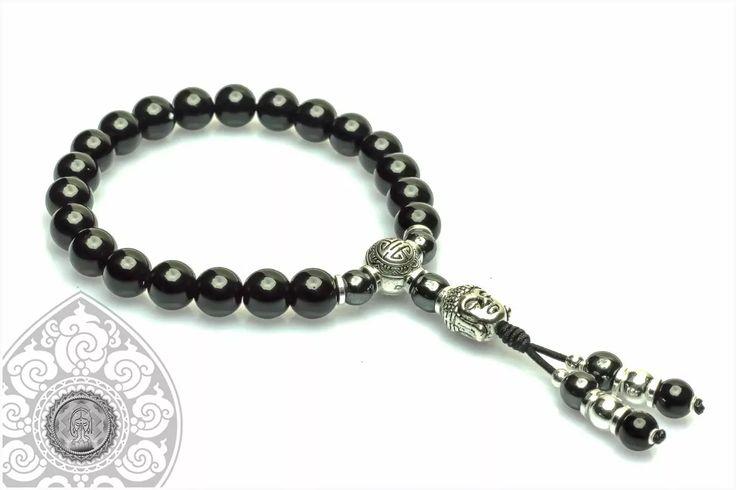 japamala pulseira terço budista ônix hematita buda head 8mm