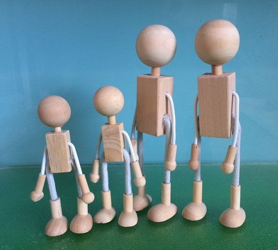 WOOD and Wire DOLL FAMILY - Bendy Doll Family - Wood Doll Bases - D I Y  Dolls ***Free basic Patterns for felt Shirts, Pants, Caps Included